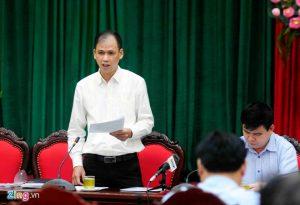Phó chủ tịch UBND quận Đống Đa (Hà Nội) Phan Hồng Việt thông tin với báo chí chiều 4/9.