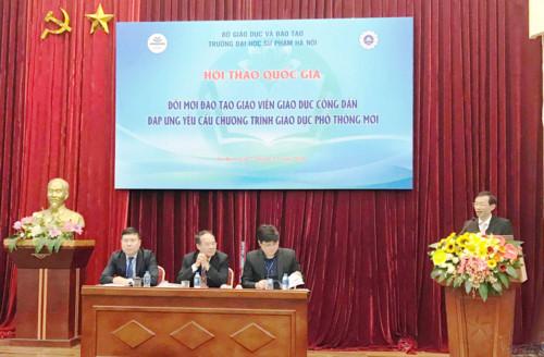 """GS.TS. Nguyễn Văn Minh phát biểu tại hội thảo """"Đổi mới đào tạo giáo viên Giáo dục công dân đáp ứng yêu cầu chương trình giáo dục phổ thông mới"""""""