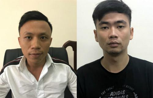 Trần Quang Nam và Ngô Xuân Tùng (từ trái qua) tại cơ quan điều tra