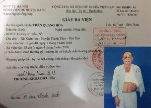 Ông Trần Quang Hòa bị đánh gãy xương bả vai trái, lại còn bị xử phạt vi phạm hành chính gây ồn ào dư luận địa phương.